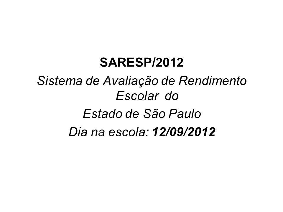 SARESP/2012 Sistema de Avaliação de Rendimento Escolar do Estado de São Paulo Dia na escola: 12/09/2012