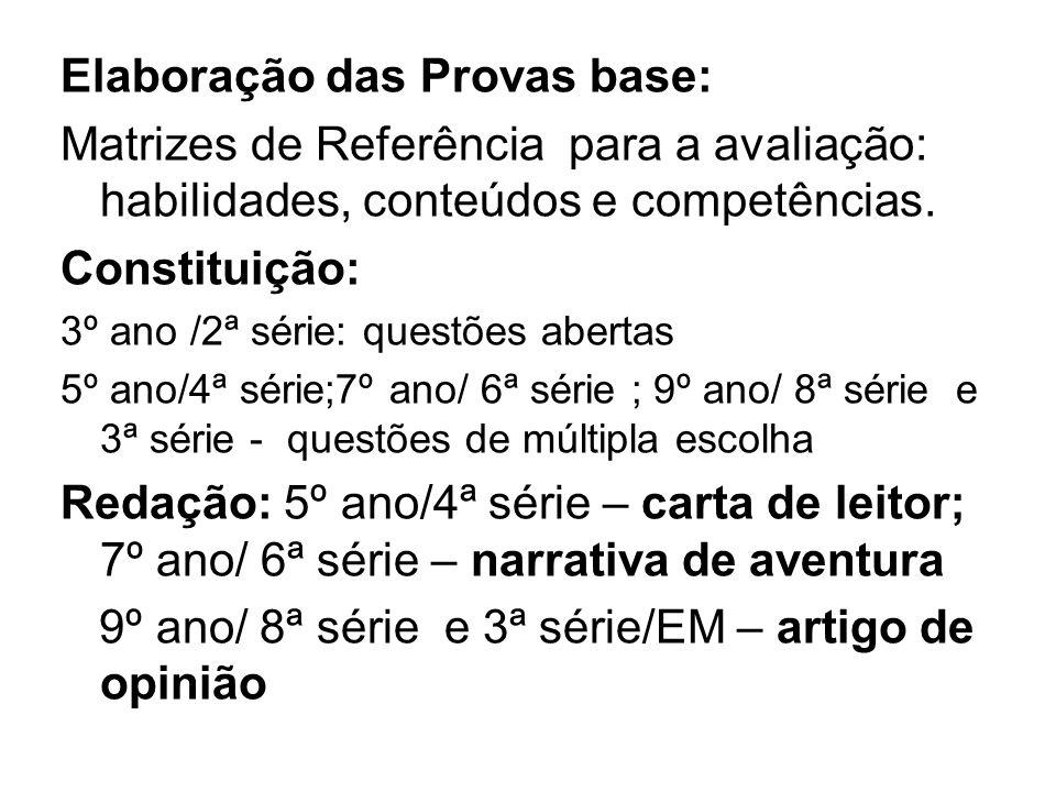 Elaboração das Provas base: Matrizes de Referência para a avaliação: habilidades, conteúdos e competências. Constituição: 3º ano /2ª série: questões a