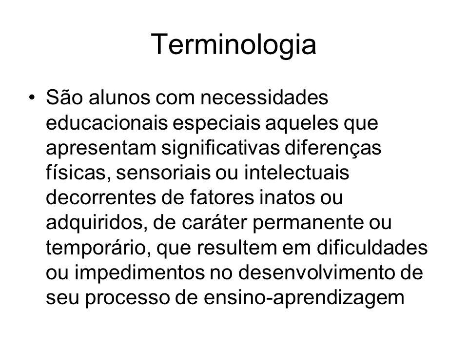 Terminologia São alunos com necessidades educacionais especiais aqueles que apresentam significativas diferenças físicas, sensoriais ou intelectuais d