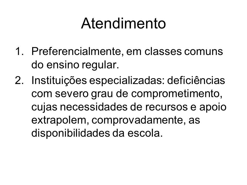 Atendimento 1.Preferencialmente, em classes comuns do ensino regular. 2.Instituições especializadas: deficiências com severo grau de comprometimento,