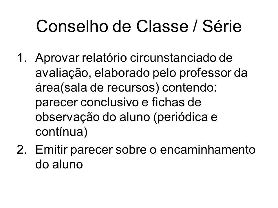Conselho de Classe / Série 1.Aprovar relatório circunstanciado de avaliação, elaborado pelo professor da área(sala de recursos) contendo: parecer conc