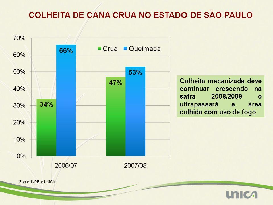 COLHEITA DE CANA CRUA NO ESTADO DE SÃO PAULO Colheita mecanizada deve continuar crescendo na safra 2008/2009 e ultrapassará a área colhida com uso de