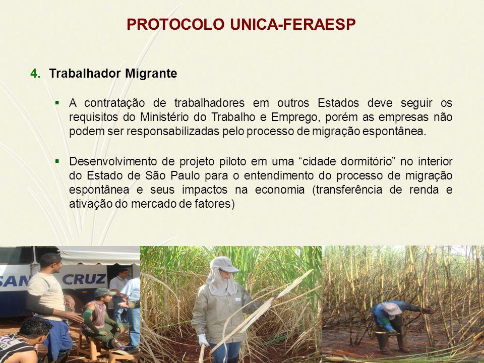 PROTOCOLO UNICA-FERAESP 4.Trabalhador Migrante A contratação de trabalhadores em outros Estados deve seguir os requisitos do Ministério do Trabalho e