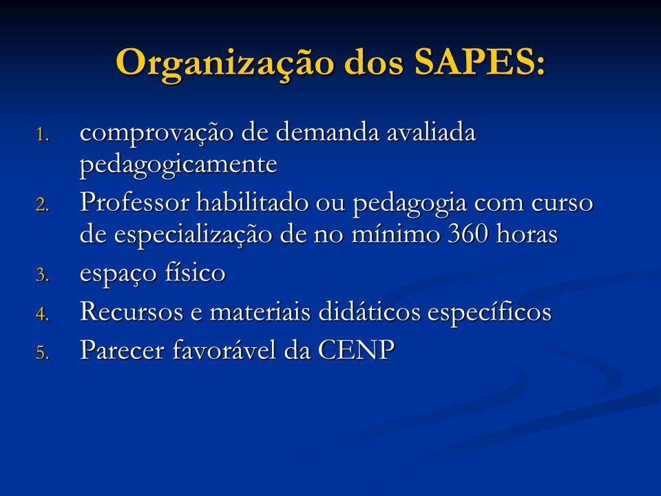 Organização dos SAPES: 1. comprovação de demanda avaliada pedagogicamente 2. Professor habilitado ou pedagogia com curso de especialização de no mínim