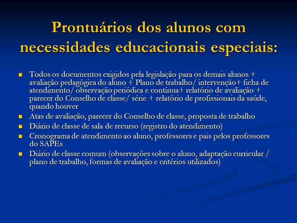 Prontuários dos alunos com necessidades educacionais especiais: Todos os documentos exigidos pela legislação para os demais alunos + avaliação pedagóg