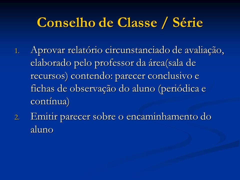 Conselho de Classe / Série 1. Aprovar relatório circunstanciado de avaliação, elaborado pelo professor da área(sala de recursos) contendo: parecer con