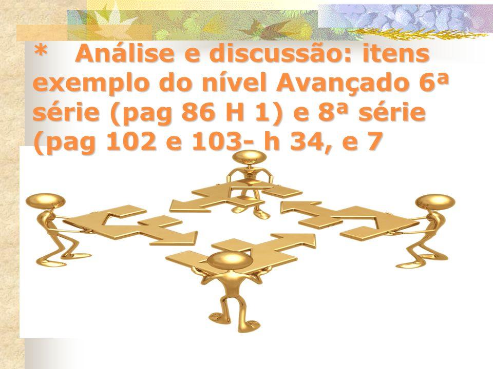 * Análise e discussão: itens exemplo do nível Avançado 6ª série (pag 86 H 1) e 8ª série (pag 102 e 103- h 34, e 7