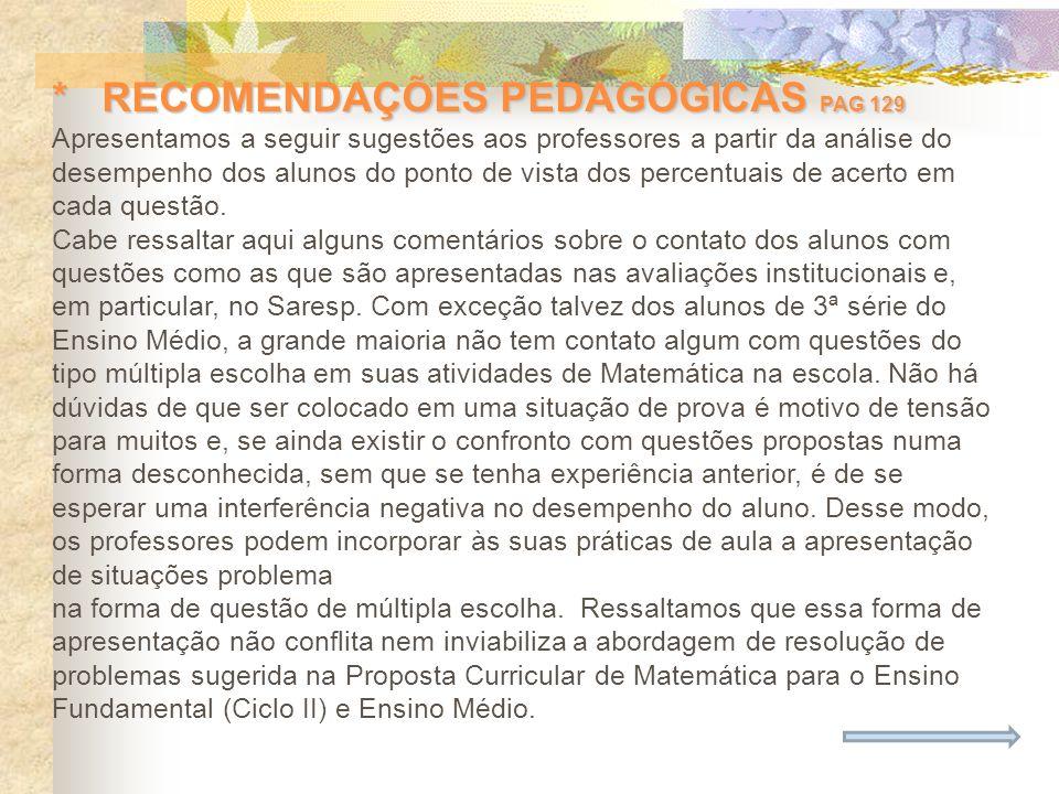 * RECOMENDAÇÕES PEDAGÓGICAS PAG 129 Apresentamos a seguir sugestões aos professores a partir da análise do desempenho dos alunos do ponto de vista dos