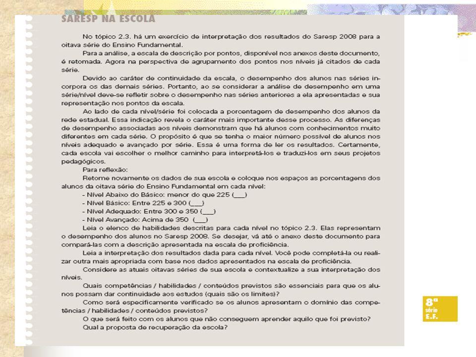 RECOMENDAÇÕES PEDAGÓGICAS PAG 129 Reflexão :questões de múltipla escolha e Proposta Curricular- proposição de problemas A proposta de questões de múltipla escolha aos alunos durante o processo de ensino/aprendizagem em Matemática e o desenvolvimento de raciocínio estratégico para seu enfrentamento.