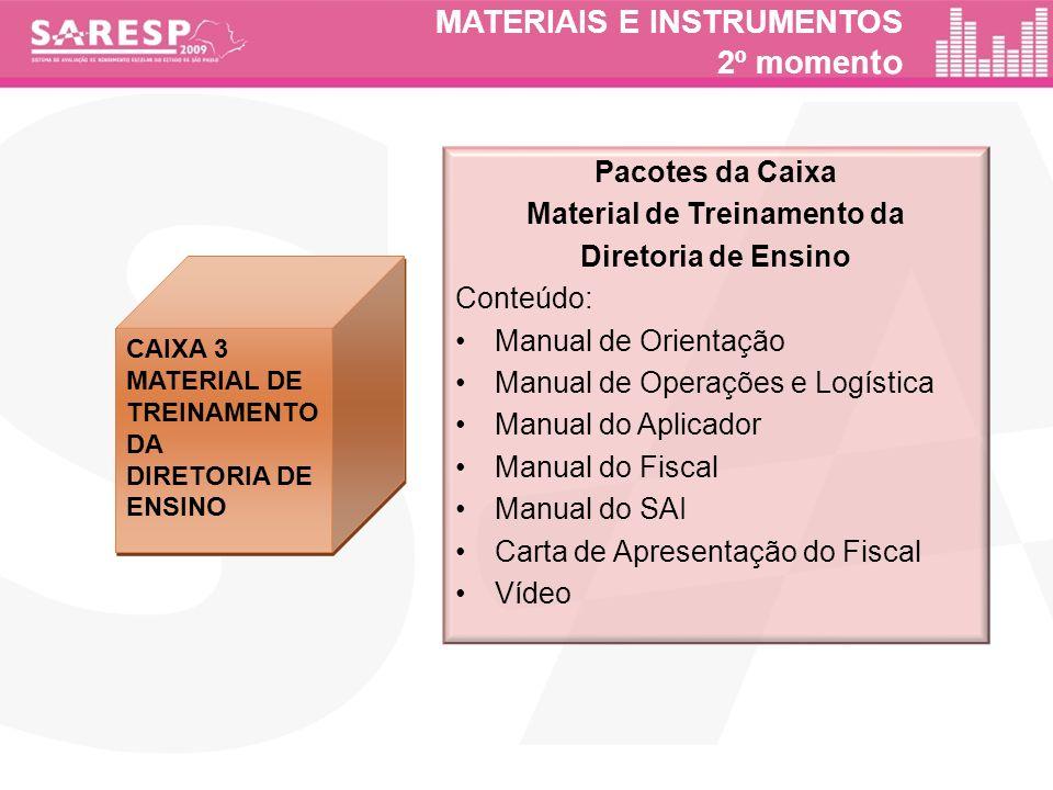 MATERIAIS E INSTRUMENTOS 2º momen to CAIXA 3 MATERIAL DE TREINAMENTO DA DIRETORIA DE ENSINO CAIXA 3 MATERIAL DE TREINAMENTO DA DIRETORIA DE ENSINO Pac