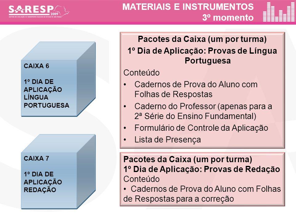 MATERIAIS E INSTRUMENTOS 3º momento Pacotes da Caixa (um por turma) 1º Dia de Aplicação: Provas de Língua Portuguesa Conteúdo Cadernos de Prova do Alu