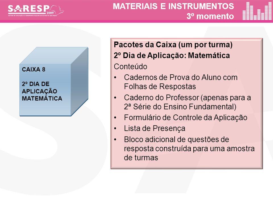 MATERIAIS E INSTRUMENTOS 3º momento Pacotes da Caixa (um por turma) 2º Dia de Aplicação: Matemática Conteúdo Cadernos de Prova do Aluno com Folhas de