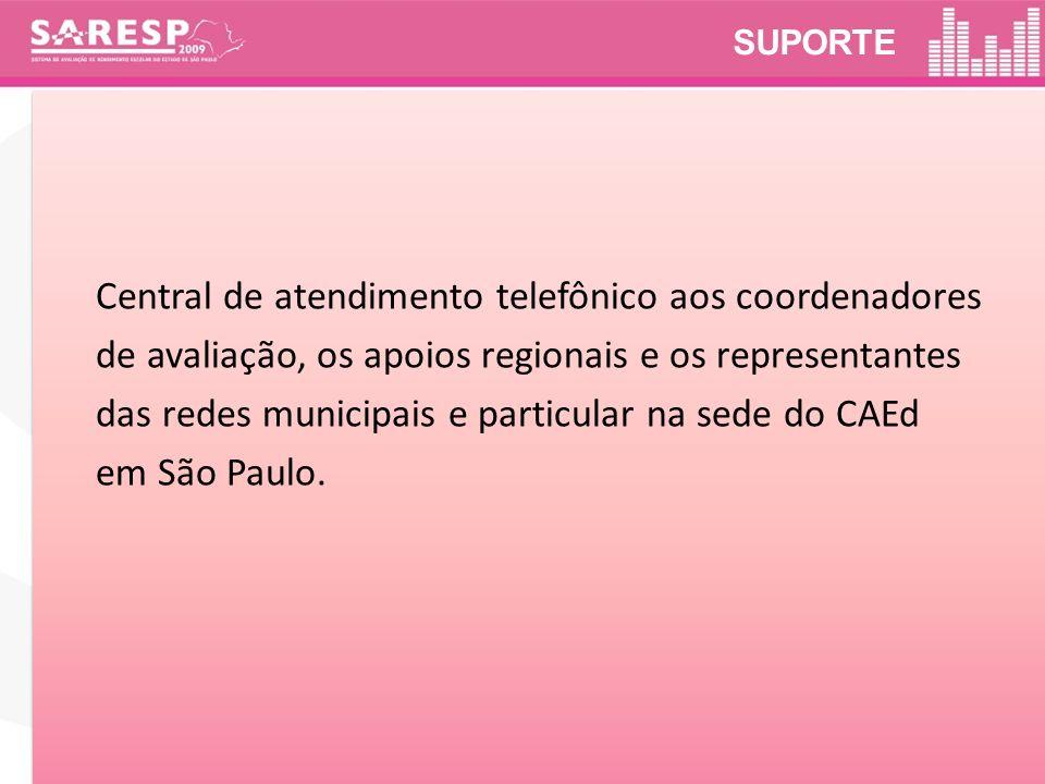 SUPORTE Central de atendimento telefônico aos coordenadores de avaliação, os apoios regionais e os representantes das redes municipais e particular na