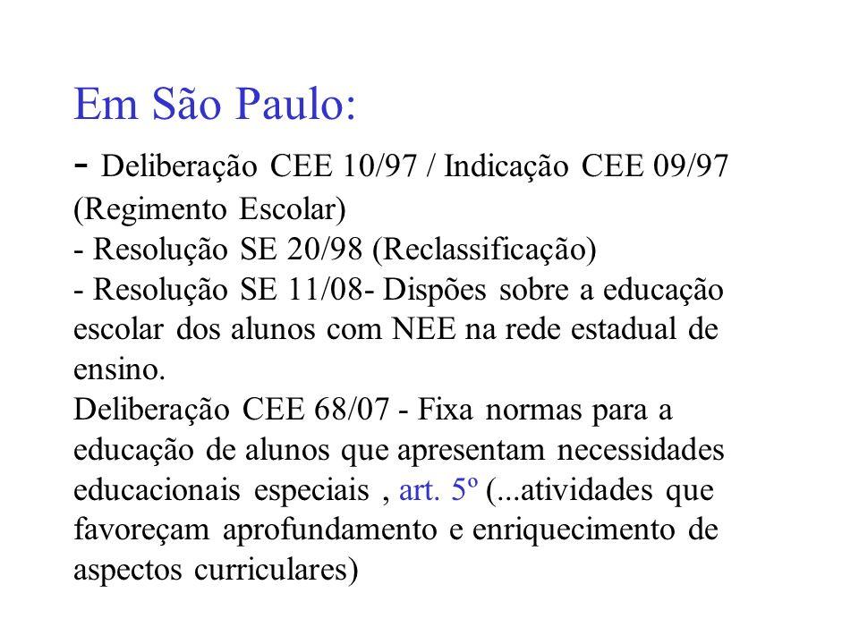 Em São Paulo: - Deliberação CEE 10/97 / Indicação CEE 09/97 (Regimento Escolar) - Resolução SE 20/98 (Reclassificação) - Resolução SE 11/08- Dispões s