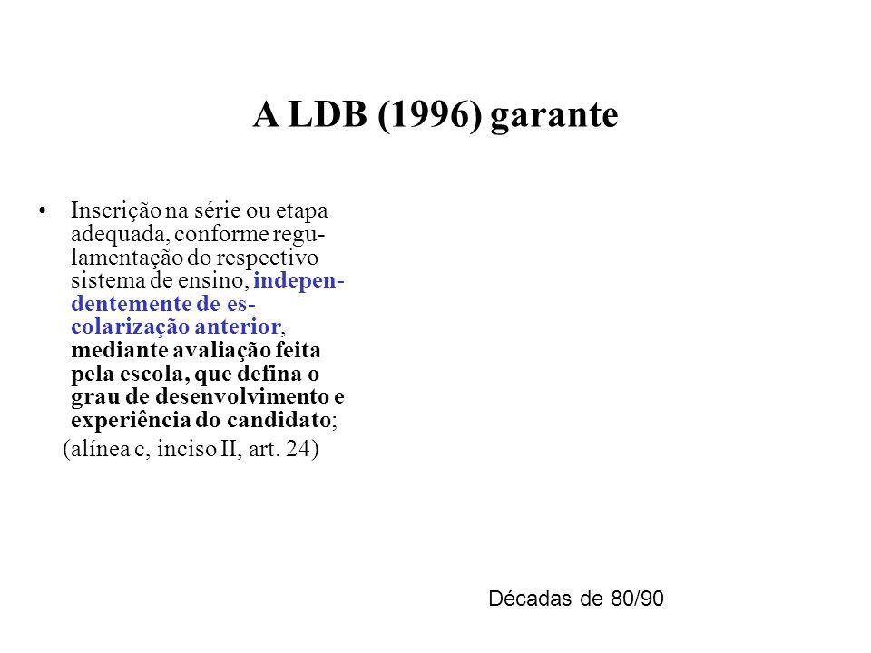 A LDB (1996) garante Inscrição na série ou etapa adequada, conforme regu- lamentação do respectivo sistema de ensino, indepen- dentemente de es- colar