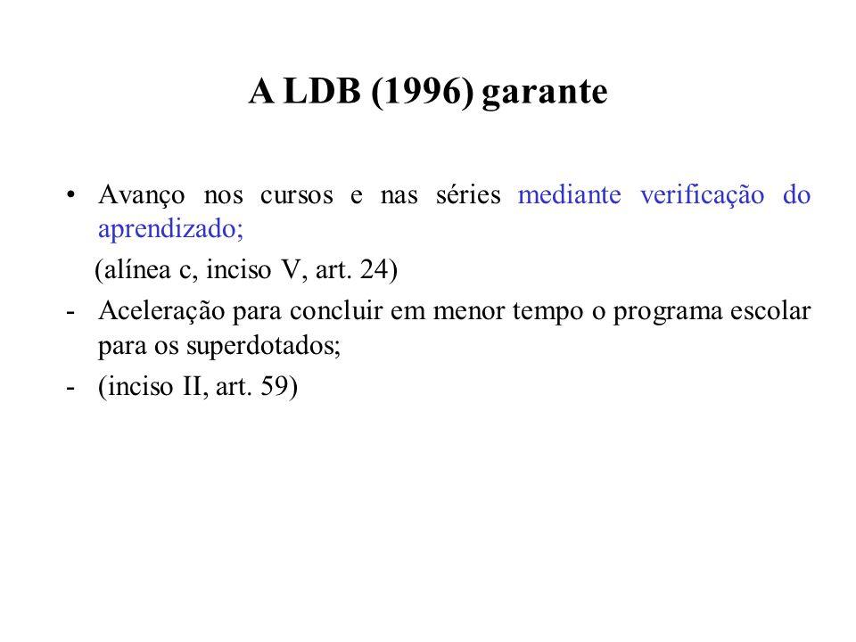 A LDB (1996) garante Avanço nos cursos e nas séries mediante verificação do aprendizado; (alínea c, inciso V, art. 24) -Aceleração para concluir em me