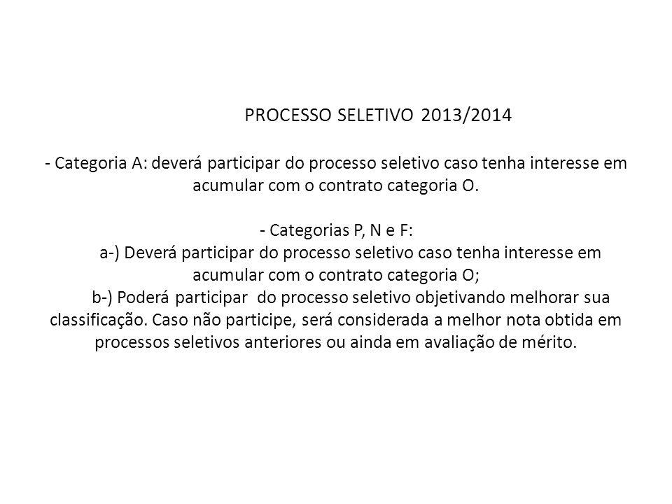 PROCESSO SELETIVO 2013/2014 - Categoria A: deverá participar do processo seletivo caso tenha interesse em acumular com o contrato categoria O. - Categ