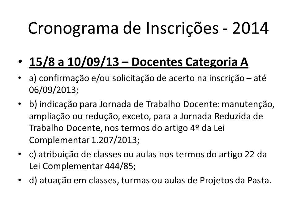 Cronograma de Inscrições - 2014 15/8 a 10/09/13 – Docentes Categoria A a) confirmação e/ou solicitação de acerto na inscrição – até 06/09/2013; b) ind
