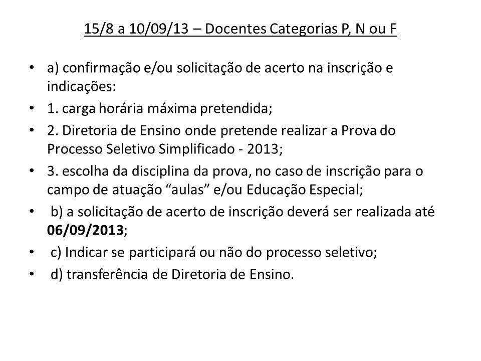 15/8 a 10/09/13 – Docentes Categorias P, N ou F a) confirmação e/ou solicitação de acerto na inscrição e indicações: 1. carga horária máxima pretendid