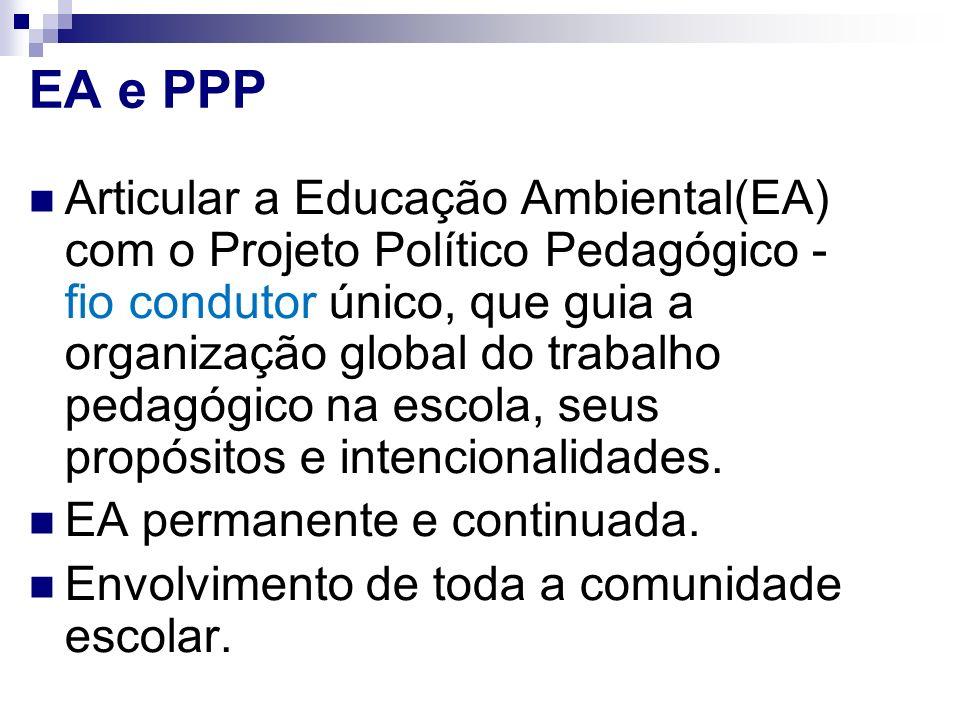 EA e PPP Articular a Educação Ambiental(EA) com o Projeto Político Pedagógico - fio condutor único, que guia a organização global do trabalho pedagógi