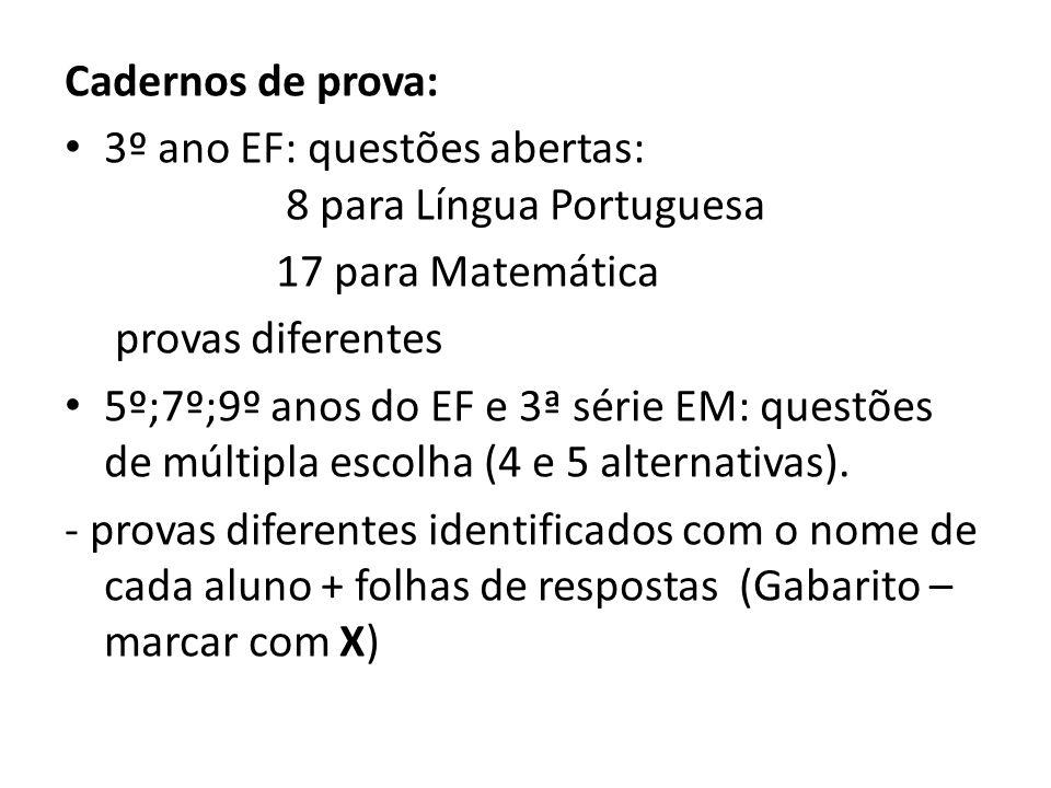 Cadernos de prova: 3º ano EF: questões abertas: 8 para Língua Portuguesa 17 para Matemática provas diferentes 5º;7º;9º anos do EF e 3ª série EM: quest