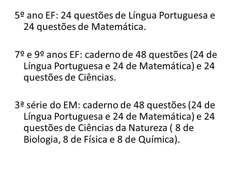 5º ano EF: 24 questões de Língua Portuguesa e 24 questões de Matemática. 7º e 9º anos EF: caderno de 48 questões (24 de Língua Portuguesa e 24 de Mate