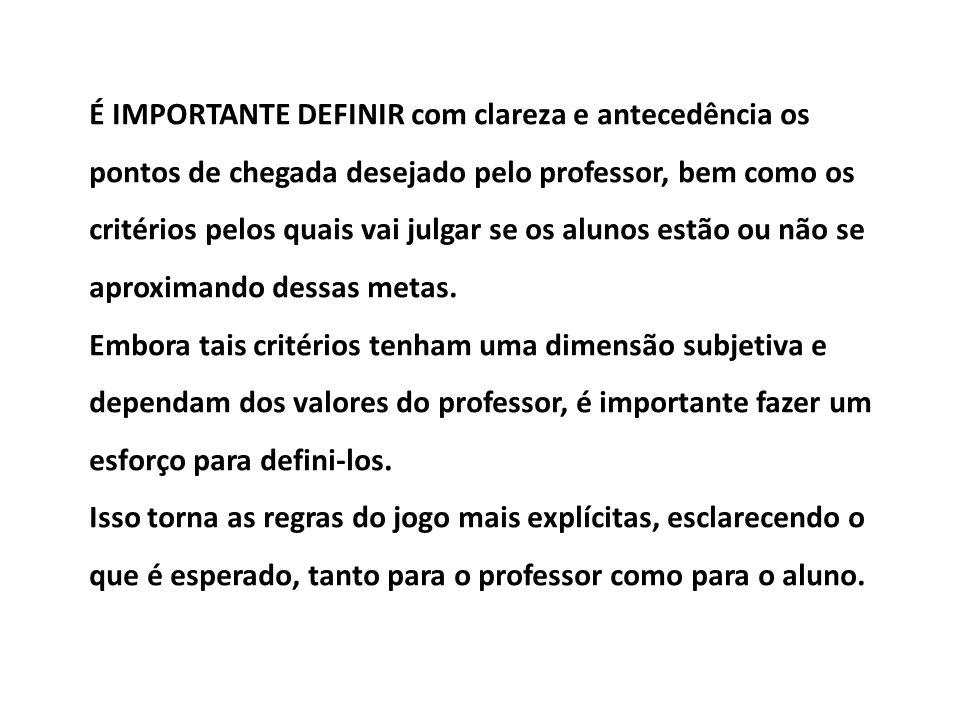 É IMPORTANTE DEFINIR com clareza e antecedência os pontos de chegada desejado pelo professor, bem como os critérios pelos quais vai julgar se os aluno