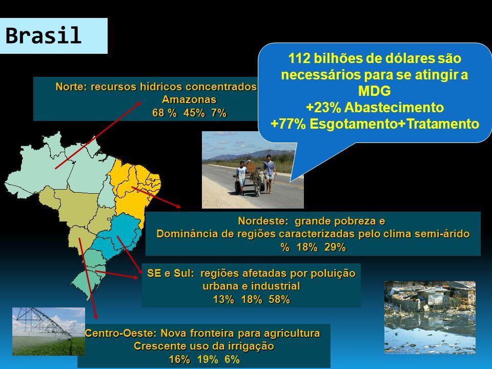 Norte: recursos hídricos concentrados na bacia do Amazonas 68 % 45% 7% Nordeste: grande pobreza e Dominância de regiões caracterizadas pelo clima semi