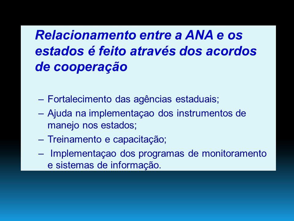 Relacionamento entre a ANA e os estados é feito através dos acordos de cooperação –Fortalecimento das agências estaduais;Fortalecimento das agências e