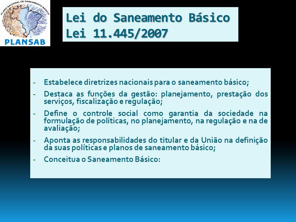 Lei do Saneamento Básico Lei 11.445/2007 - Estabelece diretrizes nacionais para o saneamento básico; - Destaca as funções da gestão: planejamento, pre