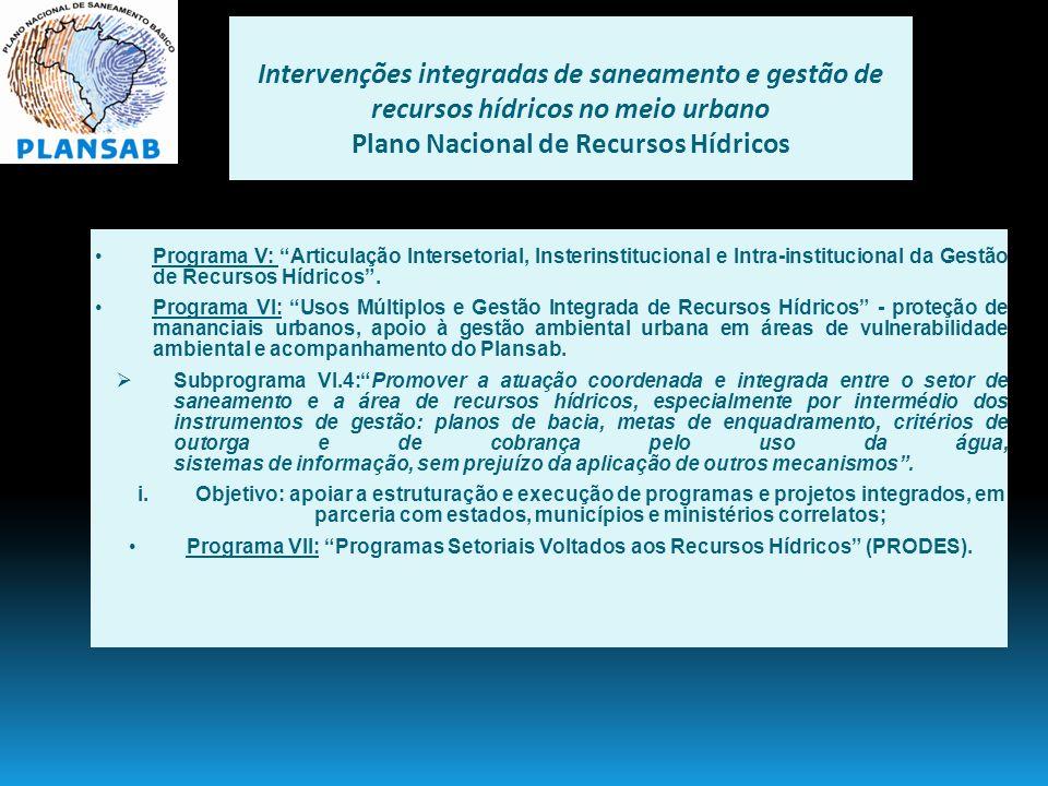 Intervenções integradas de saneamento e gestão de recursos hídricos no meio urbano Plano Nacional de Recursos Hídricos Programa V: Articulação Interse