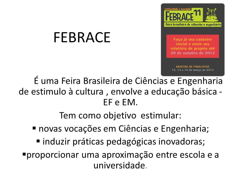 FEBRACE É uma Feira Brasileira de Ciências e Engenharia de estimulo à cultura, envolve a educação básica - EF e EM. Tem como objetivo estimular: novas