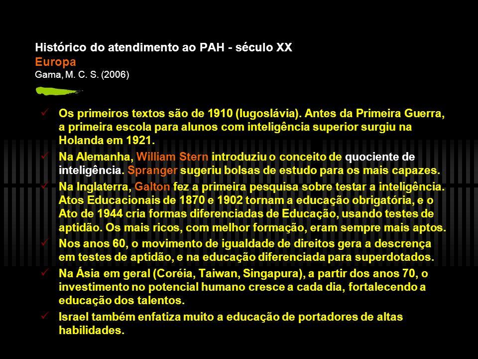 Histórico do atendimento ao PAH - século XX Europa Gama, M.