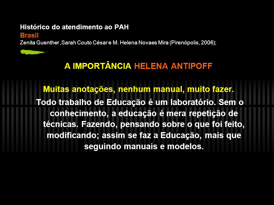 Histórico do atendimento ao PAH Brasil Zenita Guenther,Sarah Couto César e M.