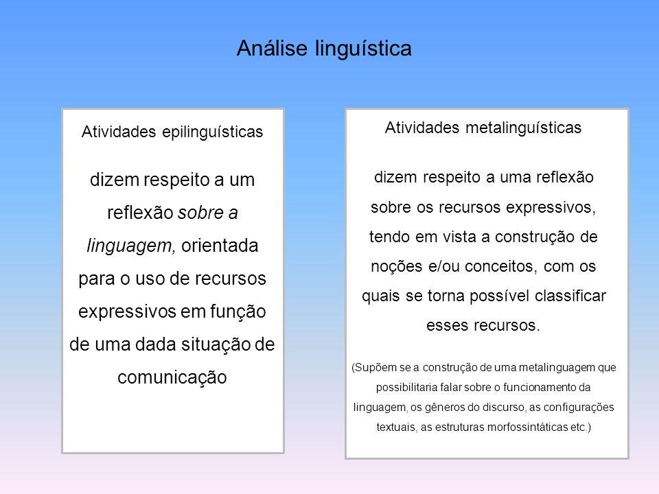Análise linguística Atividades epilinguísticas dizem respeito a um reflexão sobre a linguagem, orientada para o uso de recursos expressivos em função