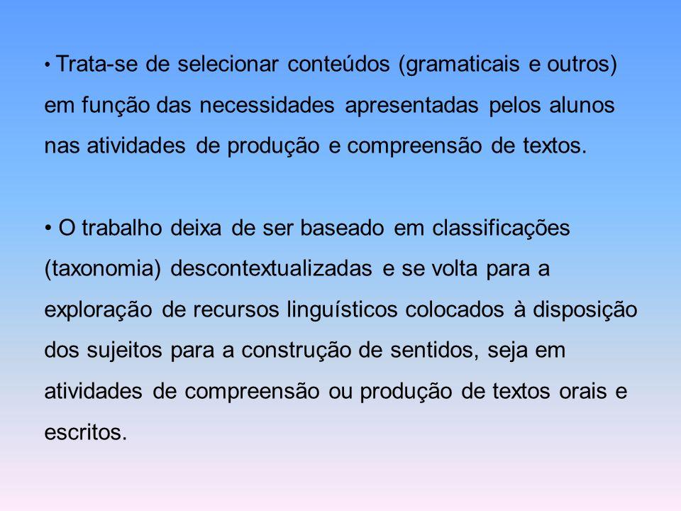 Trata-se de selecionar conteúdos (gramaticais e outros) em função das necessidades apresentadas pelos alunos nas atividades de produção e compreensão