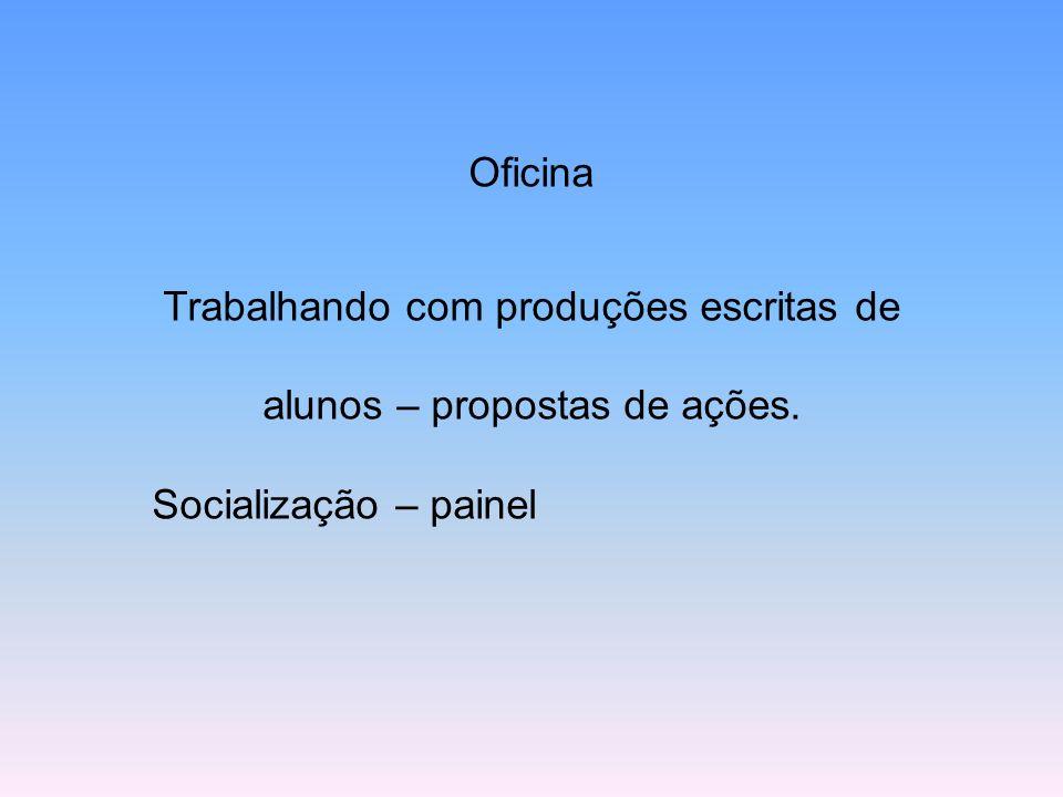 Oficina Trabalhando com produções escritas de alunos – propostas de ações. Socialização – painel