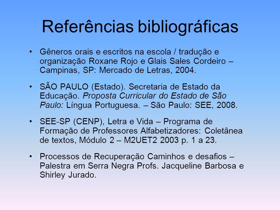 Referências bibliográficas Gêneros orais e escritos na escola / tradução e organização Roxane Rojo e Glais Sales Cordeiro – Campinas, SP: Mercado de L