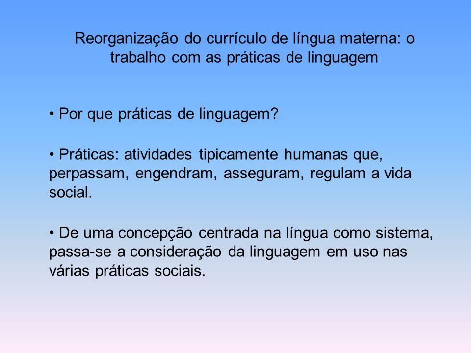 Reorganização do currículo de língua materna: o trabalho com as práticas de linguagem Por que práticas de linguagem? Práticas: atividades tipicamente