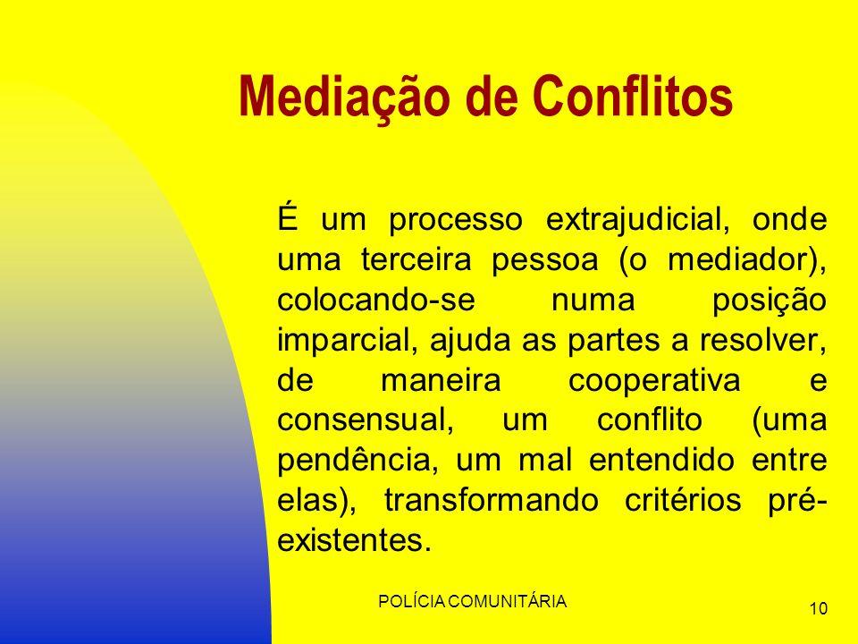 POLÍCIA COMUNITÁRIA 10 Mediação de Conflitos É um processo extrajudicial, onde uma terceira pessoa (o mediador), colocando-se numa posição imparcial, ajuda as partes a resolver, de maneira cooperativa e consensual, um conflito (uma pendência, um mal entendido entre elas), transformando critérios pré- existentes.