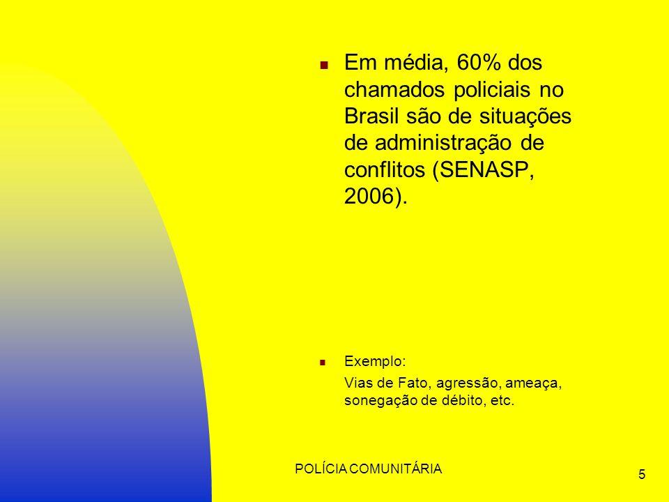 POLÍCIA COMUNITÁRIA 5 Em média, 60% dos chamados policiais no Brasil são de situações de administração de conflitos (SENASP, 2006).