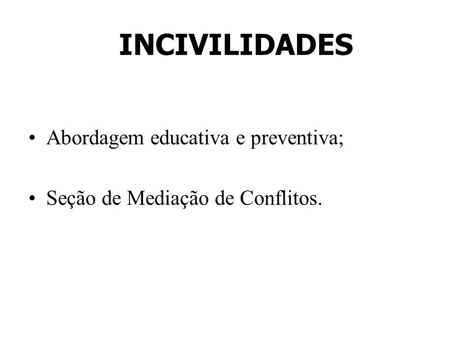 INCIVILIDADES Abordagem educativa e preventiva; Seção de Mediação de Conflitos.
