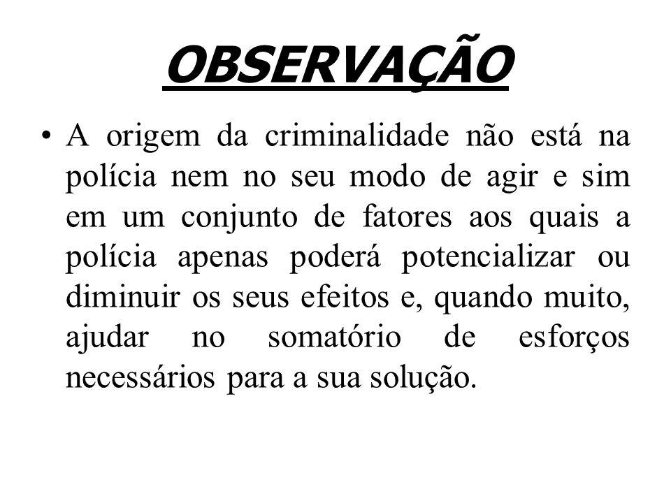 OBSERVAÇÃO A origem da criminalidade não está na polícia nem no seu modo de agir e sim em um conjunto de fatores aos quais a polícia apenas poderá pot