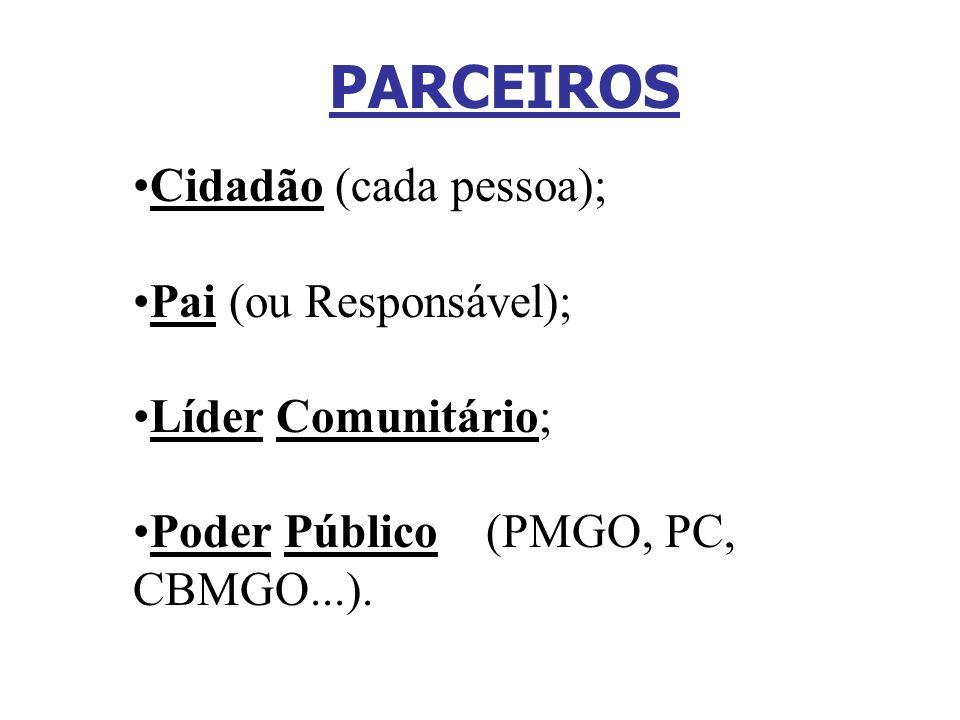 Cidadão (cada pessoa); Pai (ou Responsável); Líder Comunitário; Poder Público (PMGO, PC, CBMGO...). PARCEIROS