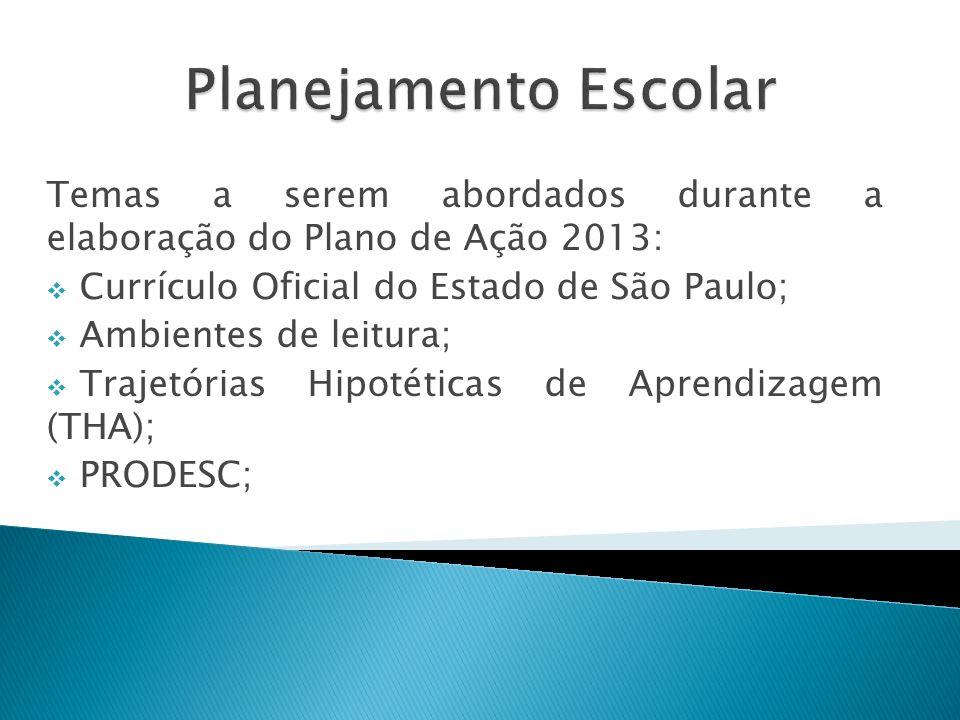Temas a serem abordados durante a elaboração do Plano de Ação 2013: Currículo Oficial do Estado de São Paulo; Ambientes de leitura; Trajetórias Hipoté