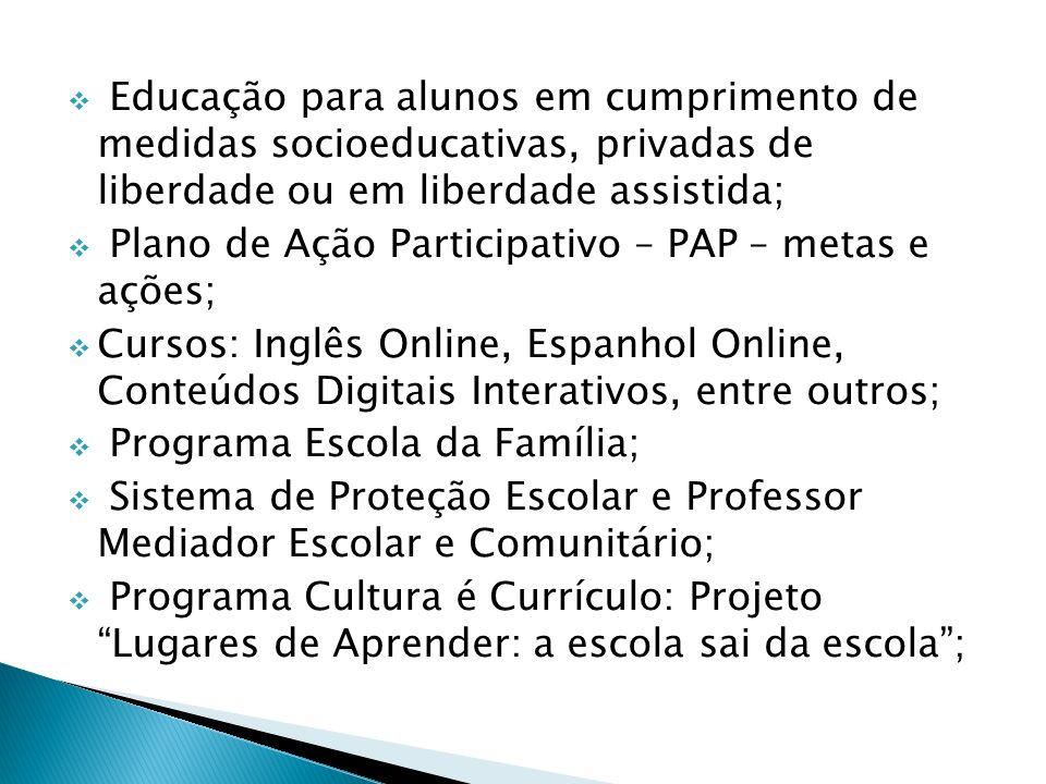 Educação para alunos em cumprimento de medidas socioeducativas, privadas de liberdade ou em liberdade assistida; Plano de Ação Participativo – PAP – m