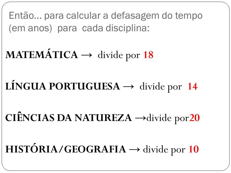 Então... para calcular a defasagem do tempo (em anos) para cada disciplina: MATEMÁTICA divide por 18 LÍNGUA PORTUGUESA divide por 14 CIÊNCIAS DA NATUR