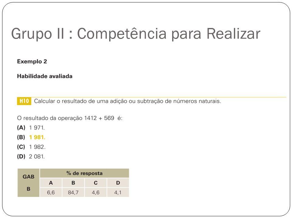 Grupo II : Competência para Realizar