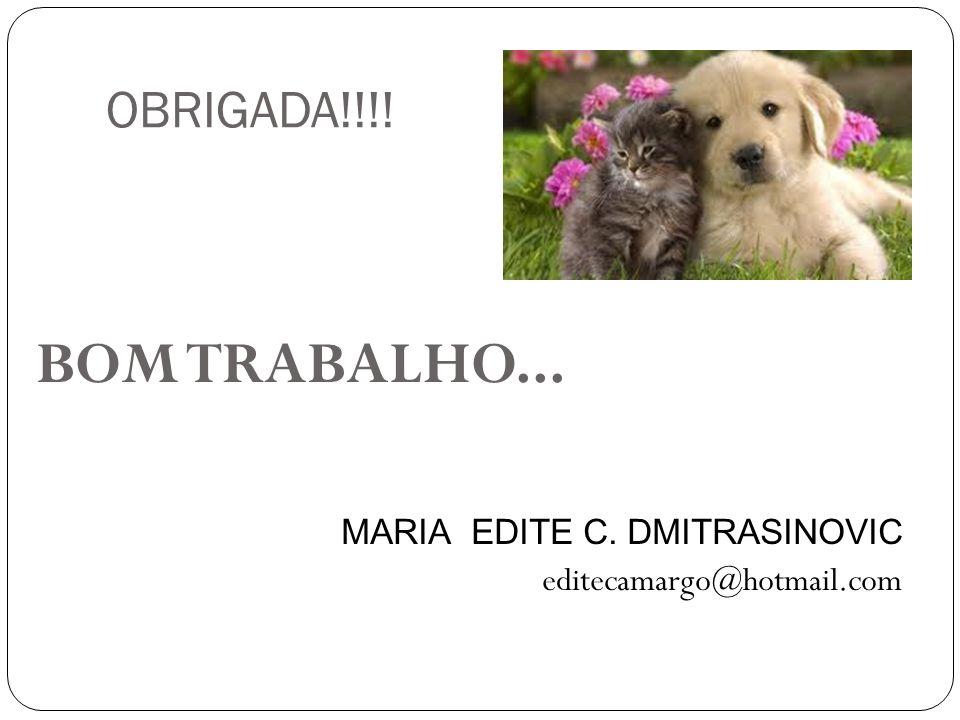 OBRIGADA!!!! BOM TRABALHO... MARIA EDITE C. DMITRASINOVIC editecamargo@hotmail.com