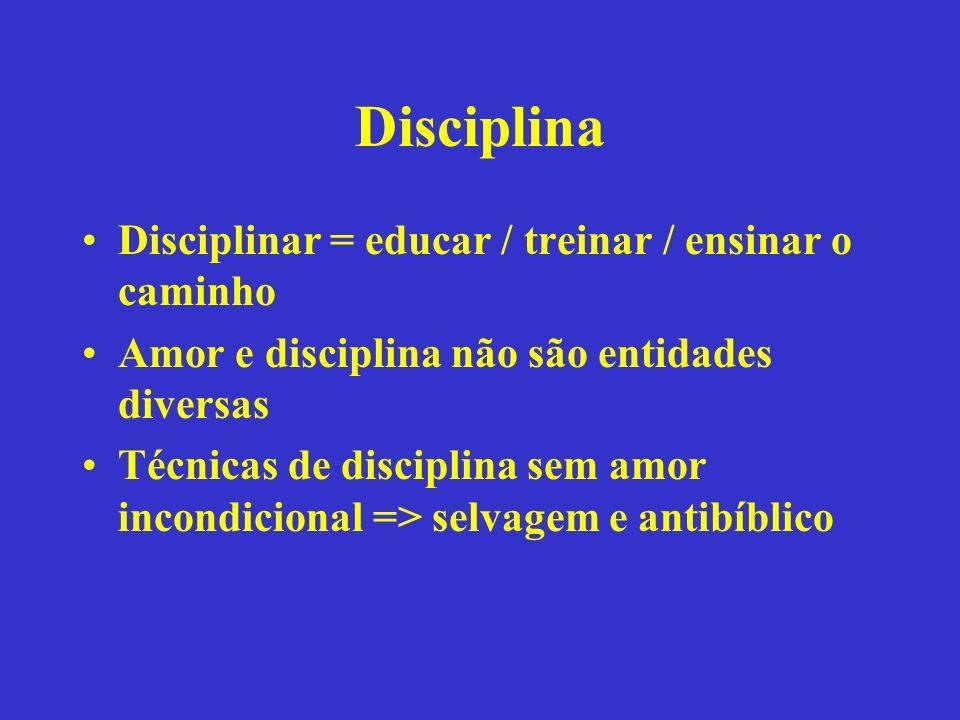 Disciplina Disciplinar = educar / treinar / ensinar o caminho Amor e disciplina não são entidades diversas Técnicas de disciplina sem amor incondicion